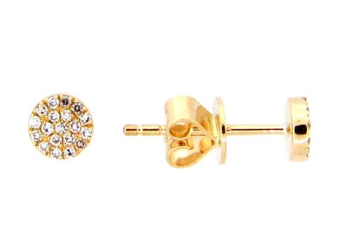 Dilamani 14 Karat Yellow Gold Diamond Circle Stud Earrings