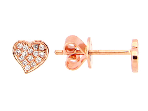 Diamond Rose Gold Heart Stud Earrings - Silverscape Designs