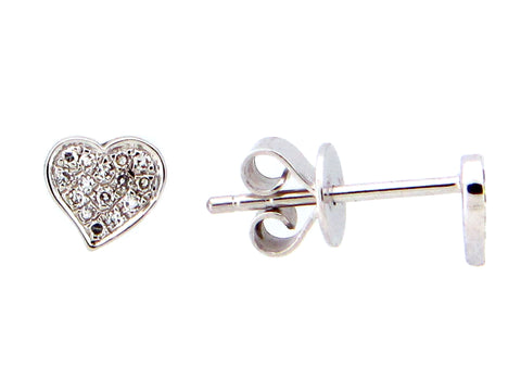 Diamond White Gold Heart Shaped Stud Earrings