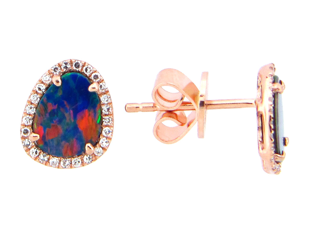 Black Opal and Diamond Halo Rose Gold Stud Earrings - Silverscape Designs