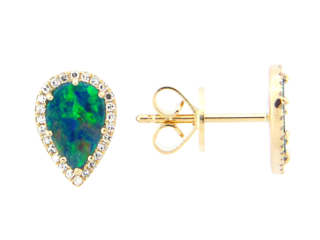 Black Opal and Diamond Halo Pear Shaped Stud Earrings - Silverscape Designs