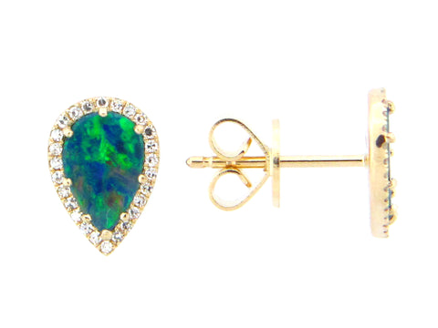 Black Opal and Diamond Halo Pear Shaped Stud Earrings
