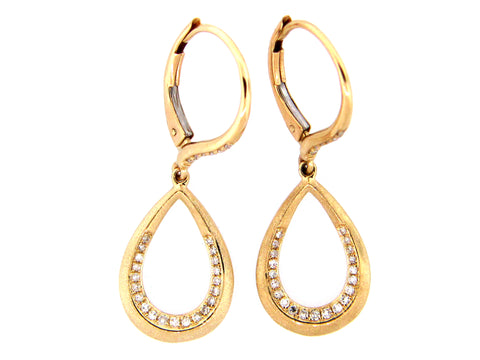 14 Karat Yellow Gold .17TCW Diamond Teardrop Dangle Earrings
