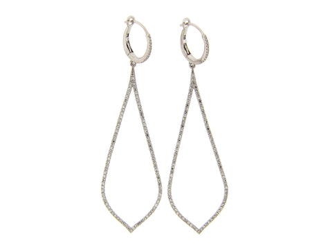 Diamond Tear Drop Large Dangle Earrings - Silverscape Designs