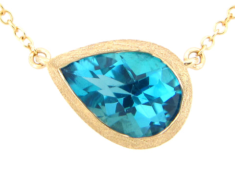 Pear Shaped Blue Topaz Pendant Necklace