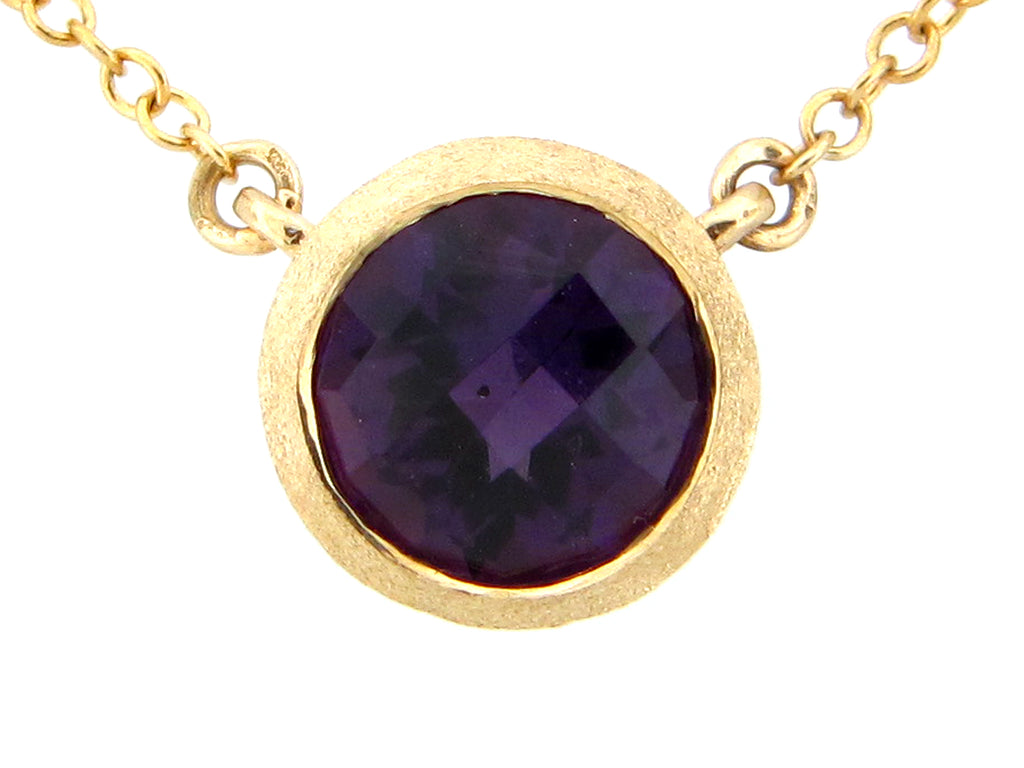 Round AmethystYellow Gold Pendant Necklace - Silverscape Designs