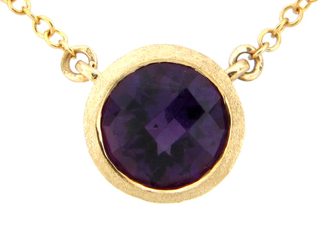 Round Amethyst Yellow Gold Pendant Necklace - Silverscape Designs