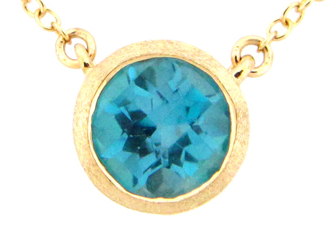 Round Blue Topaz Yellow Gold Pendant Necklace