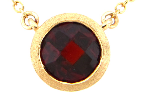 Round Garnet Yellow Gold Pendant Necklace