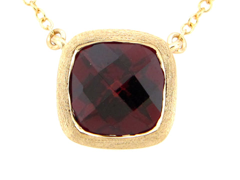 Garnet Yellow Gold Pendant Necklace