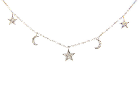 Diamond Stars and Moons Necklace