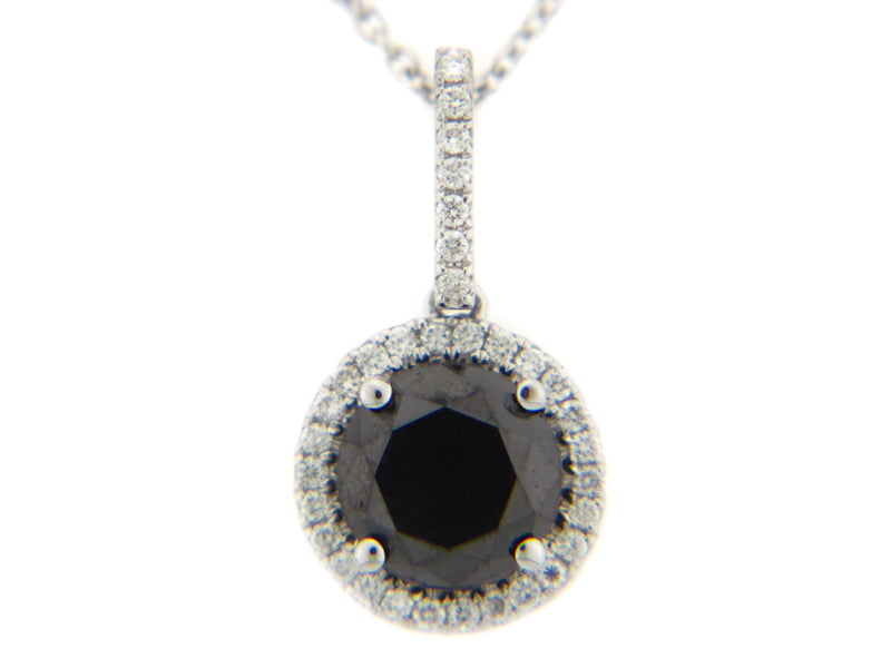 14 Karat White Gold Black Diamond Halo Pendant - Silverscape Designs