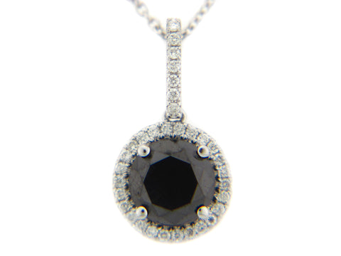 14 Karat White Gold Black Diamond Halo Pendant