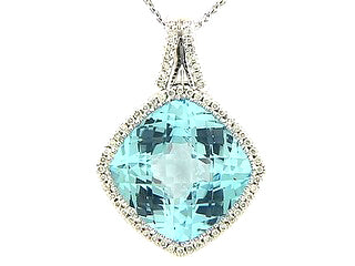 Dilamani 18 Karat White Gold 14.73 Carat Blue Topaz and .27TCW Diamond Necklace