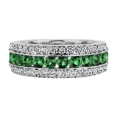 Sasha Primak .58TCW Emerald and .41TCW Diamond 18k White Gold Ring