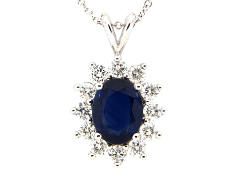Sapphire and Diamond Halo Burst Necklace in White Gold - Silverscape Designs