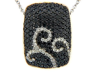 Black and White Diamond Swirl Necklace in White Gold - Silverscape Designs