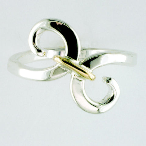 Curlicue Ring in Sterling Silver and Yellow Gold - Silverscape Designs