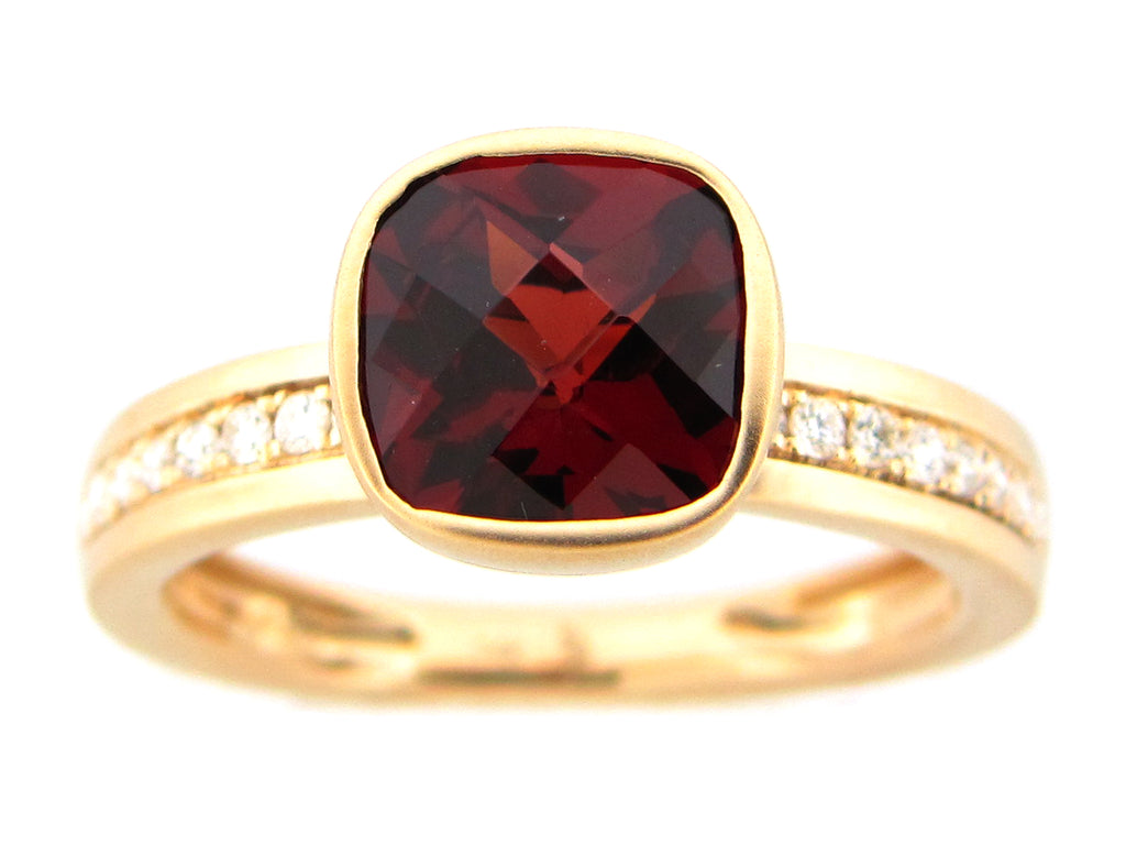 Cushion Cut Garnet and Diamond Yellow Gold Ring - Silverscape Designs