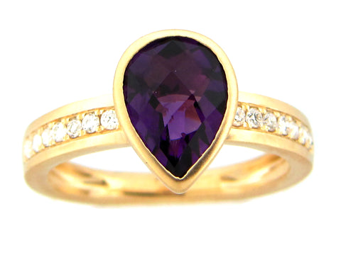 Pear Shaped Amethyst and Diamond Yellow Gold Ring