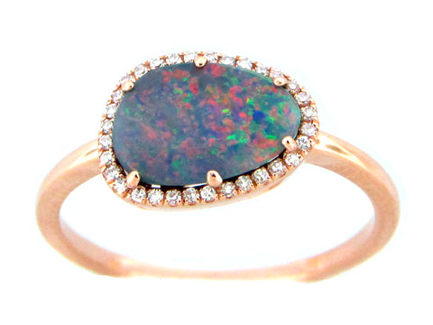 Black Opal and Diamond Halo Rose Gold Ring
