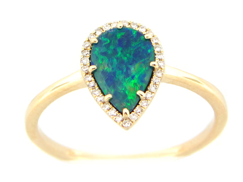 Black Opal and Dimond Halo Pear Shaped Ring - Silverscape Designs