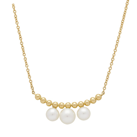 Honora Beaded Three Pearl Yellow Gold Necklace