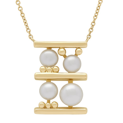 Honora Pearl Yellow Gold Square Necklace