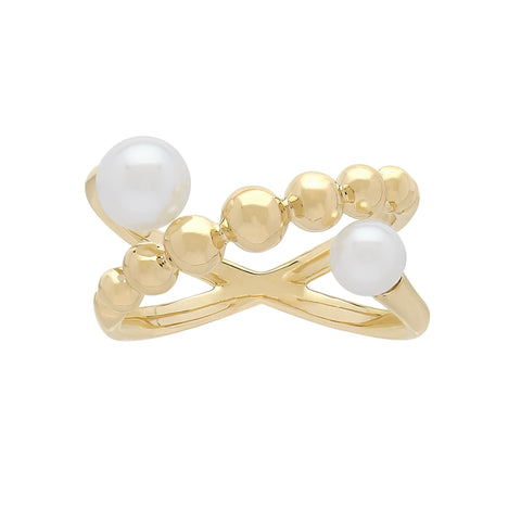 Honora Pearl Gold Criss-Cross Ring