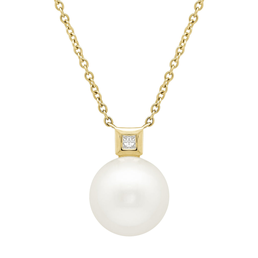 Honora Large Single White Pearl and Diamond Yellow Gold Necklace - Silverscape Designs