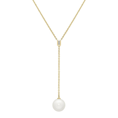 "Honora 12mm White Pearl Yellow Gold 20"" Drop Necklace"