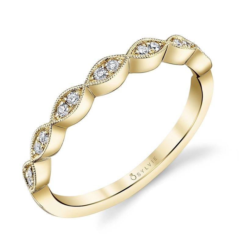 Yellow Gold & Diamond Stackable Wedding Band - Silverscape Designs