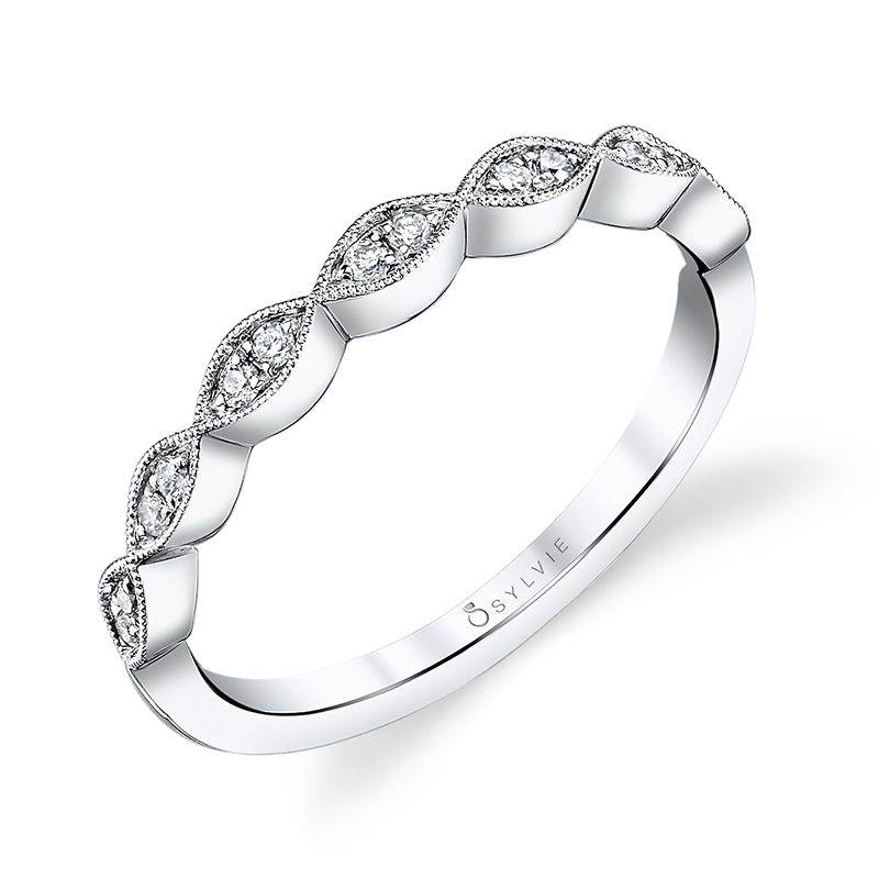 White Gold & Diamond Stackable Wedding Band - Silverscape Designs