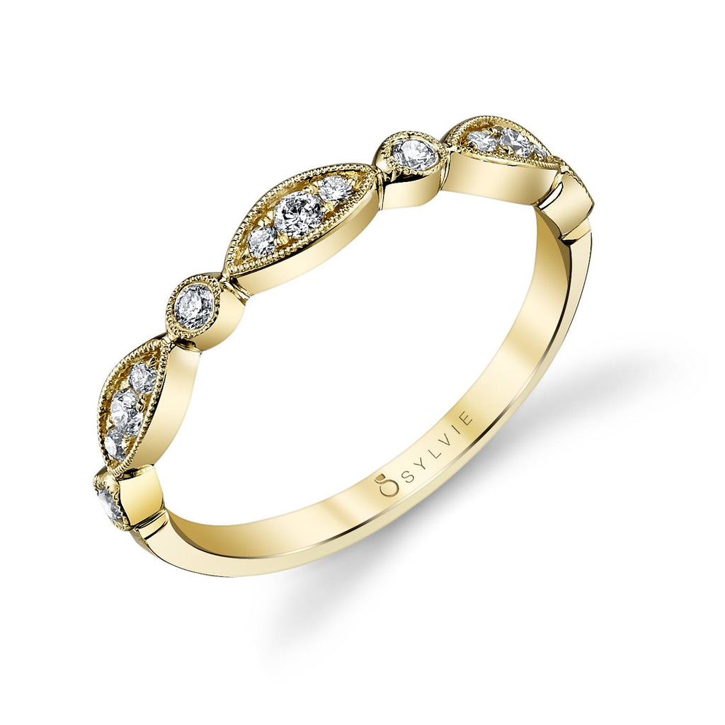 Vintage Inspired Diamond Yellow Gold Wedding Band - Silverscape Designs