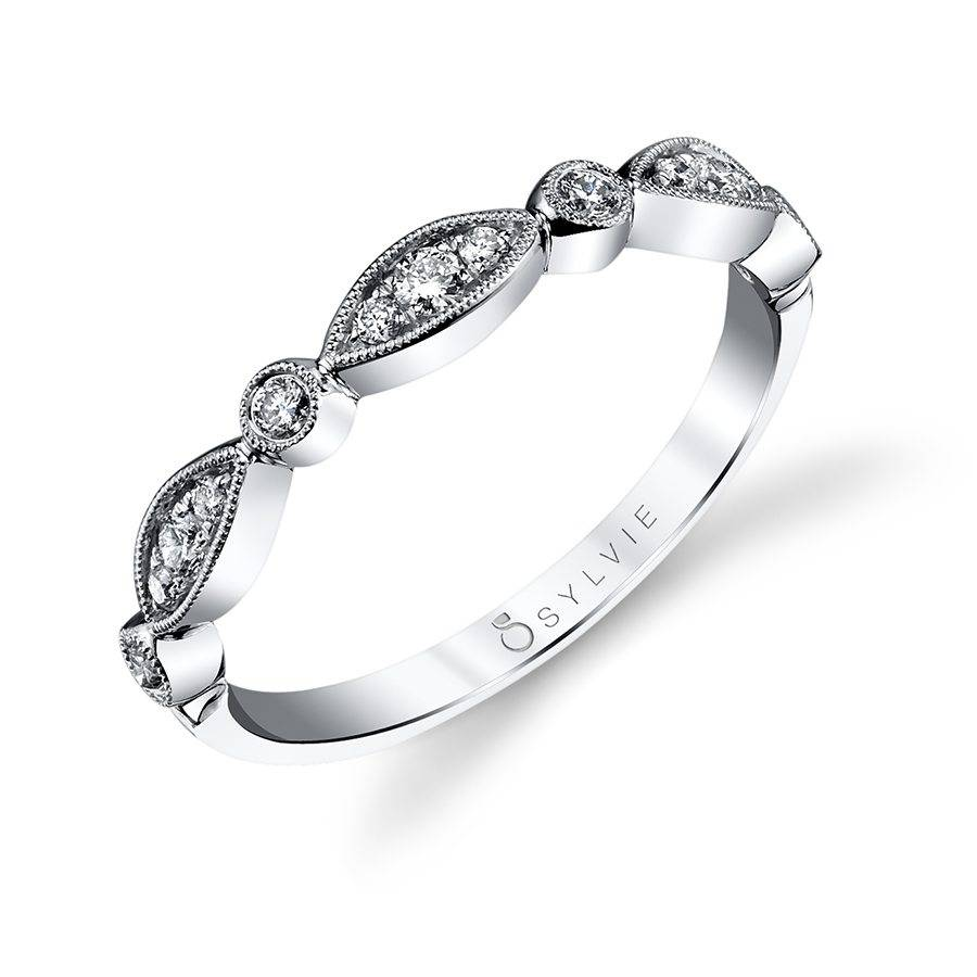 Vintage Inspired Diamond White Gold Wedding Band - Silverscape Designs