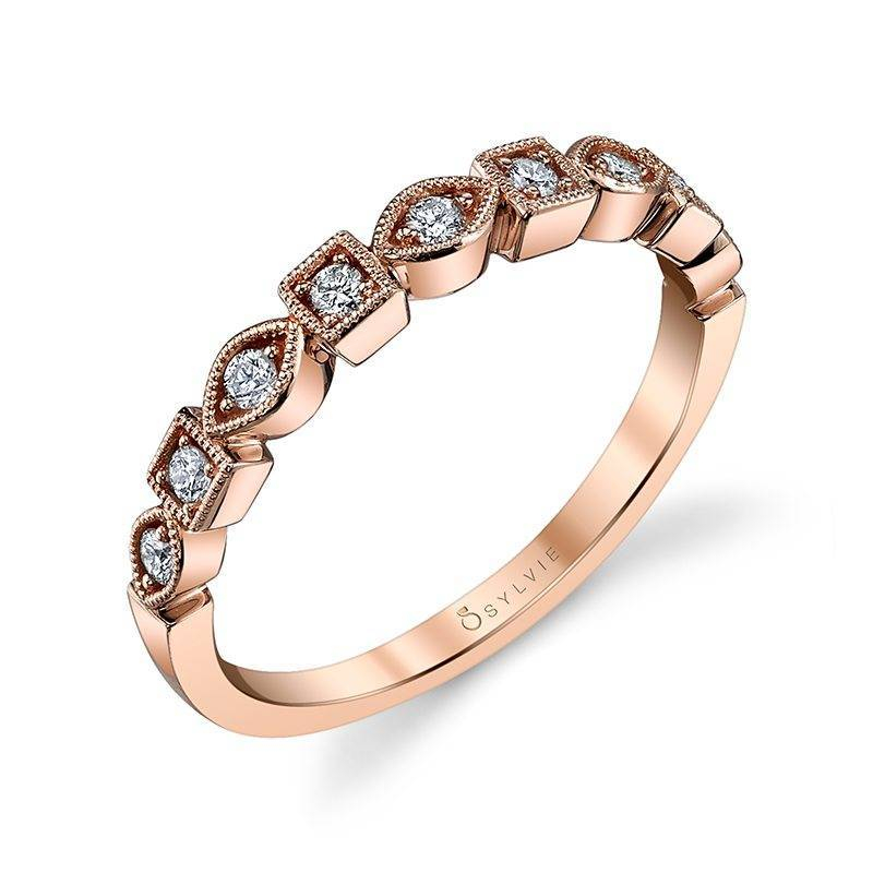 Sylvie .17 TCW Diamond 14 Karat Rose Gold Milena Band