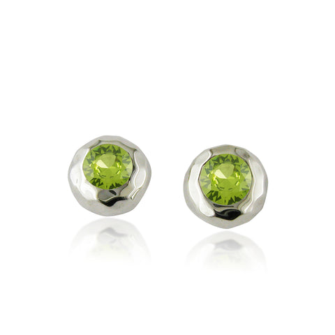 Ripple Stud with Peridot - Silverscape Designs