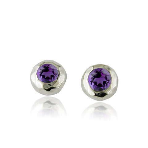 Ripple Stud with Amethyst - Silverscape Designs
