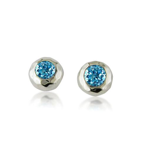 Ripple Stud with Blue Topaz
