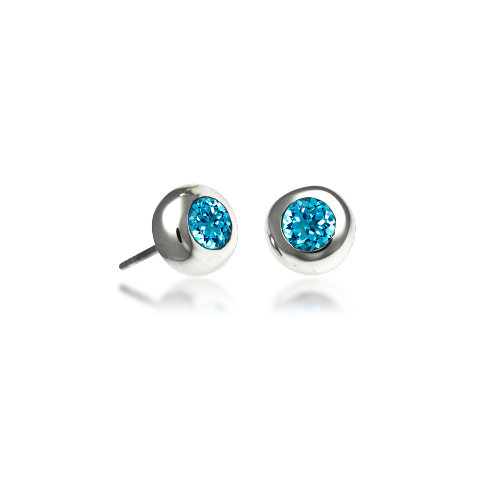 Bezel Stud Earrings with Blue Topaz - Silverscape Designs