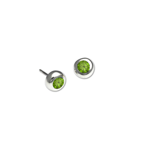 Bezel Stud Earrings with Peridot - Silverscape Designs