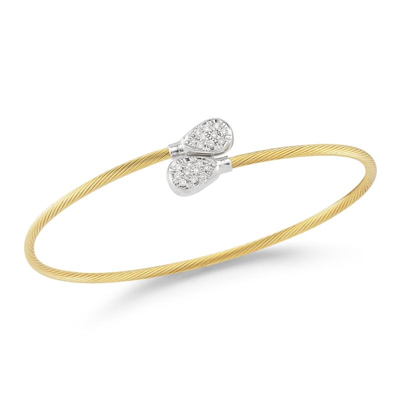 Yellow Gold and Diamond Wire Bangle