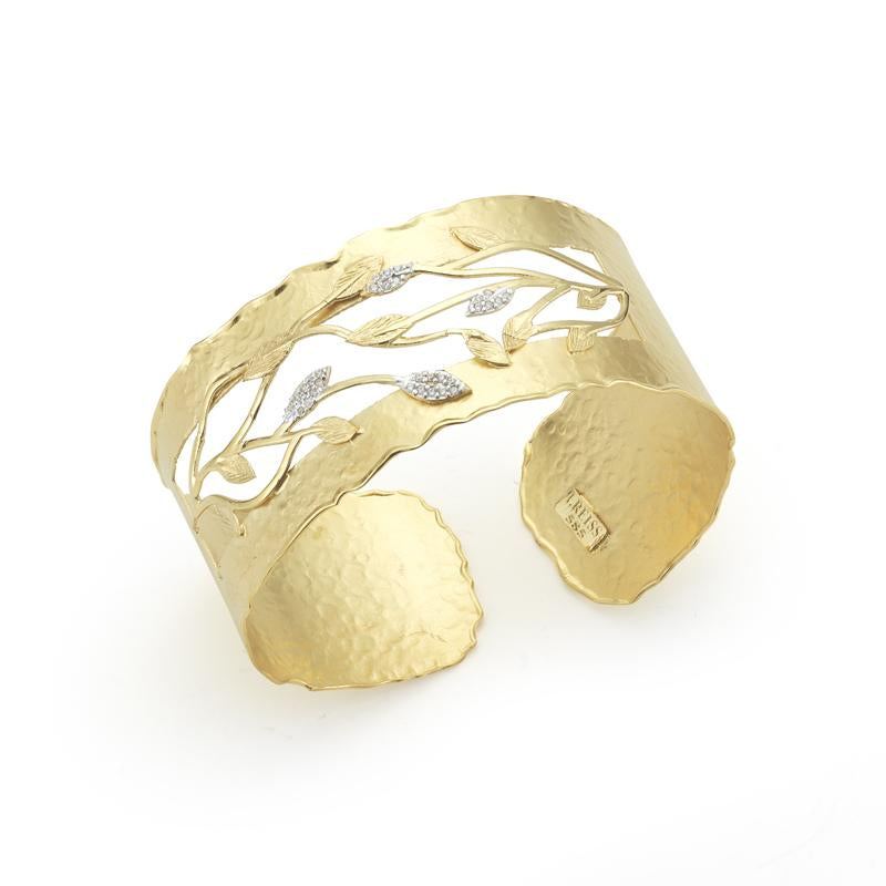 Yellow Gold and Diamond Open Leaf Cuff