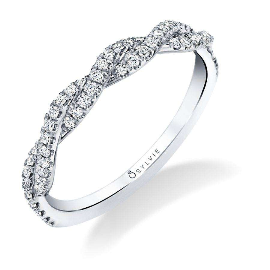 Modern Spiral Diamond White Gold Wedding Band - Silverscape Designs