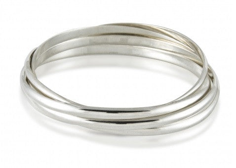 Zina Sterling Silver 5 Band Rolling Bangle