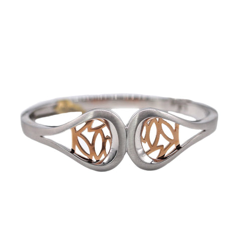 Breuning Sterling Silver and Rose Gold Hinged Bracelet