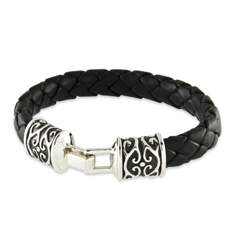 Leather Tribal Hook Bracelet - Silverscape Designs