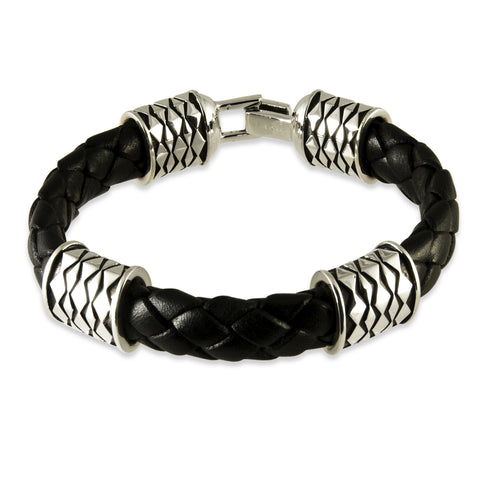 Leather Tiki Bracelet - Silverscape Designs