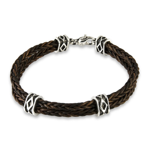 Leather Diamond Patterned Bracelet - Silverscape Designs