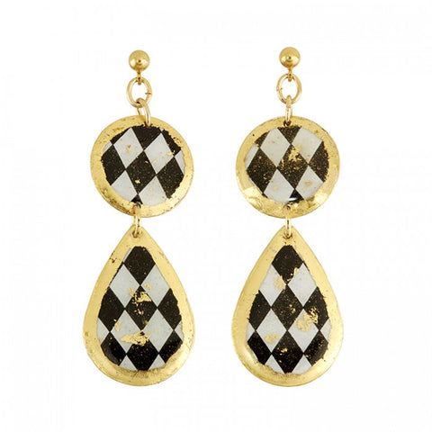 Harlequin Double Drop Earrings w/ Ball Post in 22k Gold Leaf - Silverscape Designs